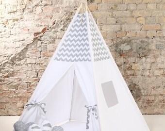 Christmas best gift - white gray chevron Childrens teepee, playtent, tipi, zelt, wigwam, kids teepee, tent, play teepee, wigwam with mat