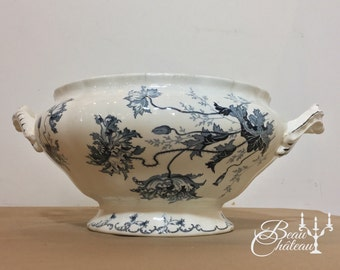 Antique French Choisy le Roi Boulenger Pavots Poppies Tureen Soup Dish Jardiniere Planter. Antique Ironstone Indigo Blue on Ivory Porcelain