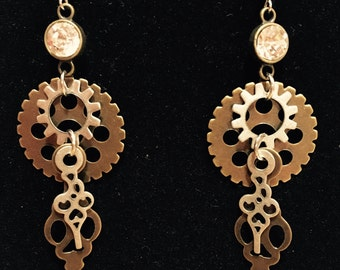 Steampunk gear inspired earrings