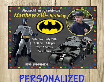 Batman Invitation -Invite , Batman Birthday, Invite -Batman Personalized, Digital File