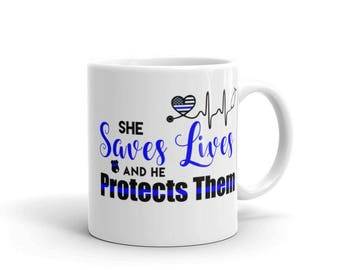 RN Registered Nurse Thin Blue Line Stethoscope She saves lives and he protects them coffee mug