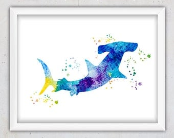 Watercolor Hammer Head Shark Nursery Print, Hammer Shark Poster, Ocean Animal Print, Digital Download Wall Art Print, Ocean Printable Art