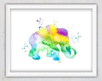 Printable Art, Watercolor Digital Print, Mammoth Art Print, Download Art Print, Animal Art Print, Colorful Illustration, Kids Room Decor Art