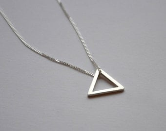 Sterling Silver Small Triangle Necklace | Open Triangle Geometric Necklace