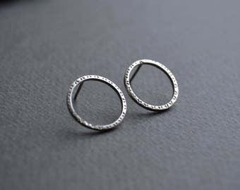 Sterling Silver Circle Stud Earrings   Sterling Silver Ear Studs
