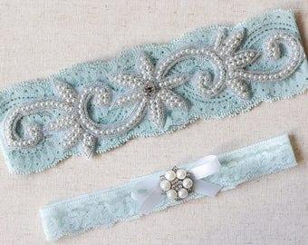 Something Blue Pearl Garter set, NO SLIP garter, vintage pearl flowers rhinestone garter, blue garter