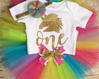 Unicorn rainbow first birthday onesie or tutu outfit