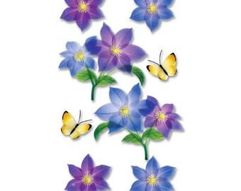 Purple Flower Stickers, Dimensional Vellum