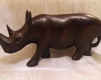 Vintage hand carved wooden African rhinoceros