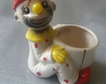 Vintage clown figure, egg cup, kitsch, retro