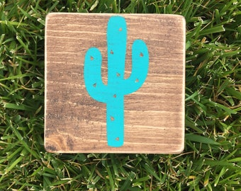 Cactus wood sign. Teal cactus wood painted sign. Stained sign. Home decor. Cactus decor.