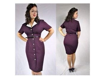 Vintage 1980s Purple Button Down Dress Pencil Dress Nicole Studio New York Dress Purple Pencil Dress