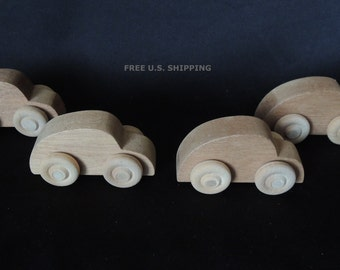 Small Wood Toy Cars Hand Crafted