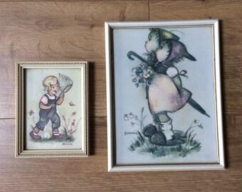 Two Vintage Prints, Hummel Style Children, 'Bonnie' - flowers & butterflies