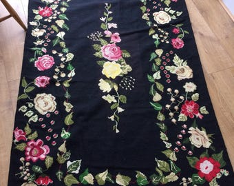 Gorgeous Vintage Hand Embroidered Tapestry Rug - Roses, Flowers on Black Background