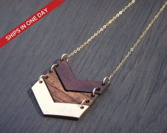 Necklace, Personalized Chevron Necklace, Pendant Necklace, Wood Necklace ,Chevron Necklace, Salvaged wood Necklace, Geometric necklace