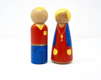 Perfect Pair - painted peg dolls (set of two) READY TO SHIP