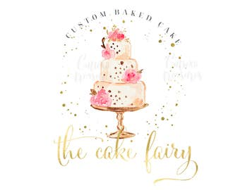 Premade Logo - Logo Design - Cake Logo - Bakery Logo - Bakers Logo - Dessert Logo - Business Logo - Gold Watercolor Logo - Branding Kit