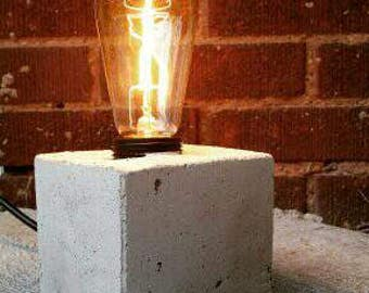 Hand made cement Edison light.