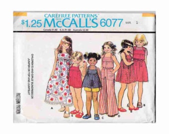 1970's McCalls 6077 Children's and Girls Sundress or Jumper or Top and Jumpsuit Vintage Pattern