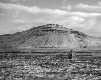 Erratic Boulder, Dramatic Landscape, Photographic Art Print, Ingleborough, Snowy Mountain, Twistleton, Whernside, Black and White