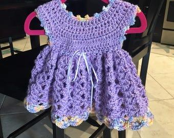 Crocheted Baby Girl Dress in Lavender
