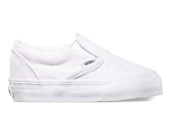 Toddler White Slip On Vans-Customizable
