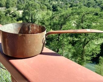Heavy Vintage Brass Copper Saucepan