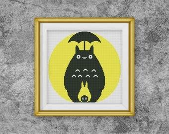 BOGO FREE! My Neighbor Totoro Cross Stitch pattern, Ghibli Cross Stitch Miyazaki pattern Embroidery Needlework PDF Instant Download ,S113