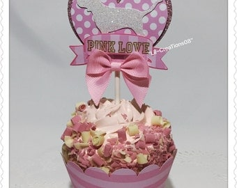 12 Pink Cupcakes Topper