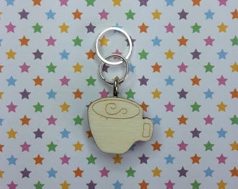 Latte wooden stitch marker - knitting notions - charm