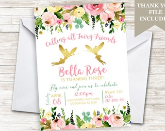 Fairy Invitation Invite Birthday Fairies Friends Girls Gold ANY AGE Pink Watercolor Flowers Floral