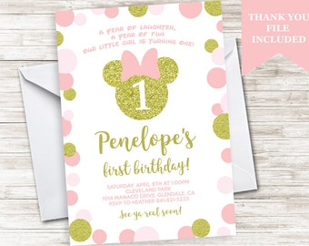 Minnie Mouse Inspired First Birthday Invitation Invite Gold Glitter Pink Polka Dots 5x7 Digital Personalized