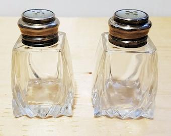 Vintage 925 Sterling Silver Crystal Salt & Pepper Shakers
