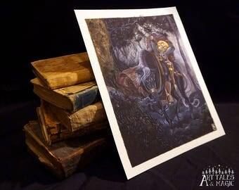 Headless Horseman (8x10) sleepy hollow art, halloween art, washington irving, halloween art print, spooky art, book art, book art print