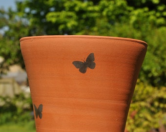 "9"" Vintage Style Terracotta Flower Pot - Butterflies"