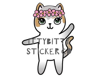 Mauly, the Ittybitty Kitty - Hand Drawn IttyBitty Kitty  Collection - Planner Stickers