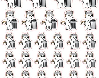 Trash Day Mauly - Hand Drawn IttyBitty Kitty Collection - Planner Stickers