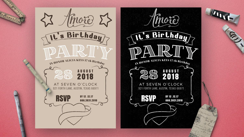 Chalkboard birthday invitation card birthday party invitations chalkboard birthday invitation card birthday party invitationschildren birthday party invitationskids birthday filmwisefo
