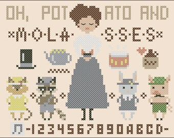 Over the Garden Wall Cross Stitch Potato and Molasses Sampler Scheme