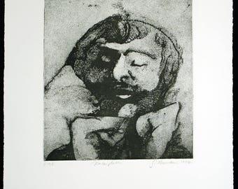 "Art from the GDR. ""Kontemplation"", 1984. Etching by Gunter HERRMANN (*1938 D)"