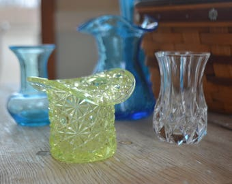 Glass Bud Vases and Hats