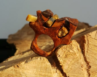 Olive wood ring and found stones