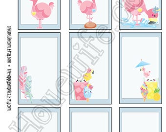 Flamingo, Happy Planner stickers [274] , Full box, A5 PDF, Instant download