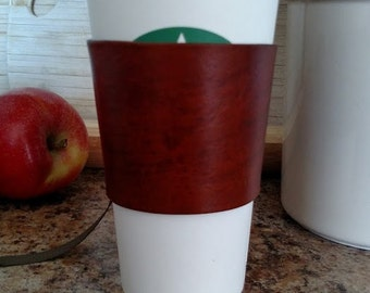 Coffee cup holder, Coffee cup cozy, Leather cup holder, Leather cup cozy, Brown leather cup Holder, Coffee up sleeve, c