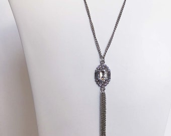 Silver Jeweled Pendant Necklace With Tassel