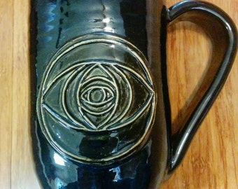 Large 16 ounce handmade ceramic mug for coffee or tea, Sacred geometry vesica piscis mug #67
