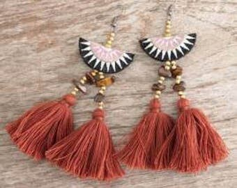 Tassel Earrings. Pom Pom Earrings. Beach Jewelry. Hmong Jewelry. Boho Earrings. Bohemian Earrings. Boho Jewelry. Beaded Earrings.