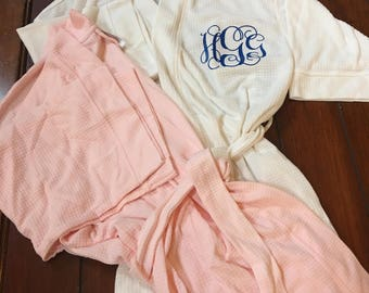 Personalized waffle robes