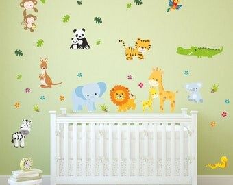 013 wall sticker baby animals modern Zoo lion elephant giraffe monkey Zebra crocodile * nikima * in 6 verse. Sizes